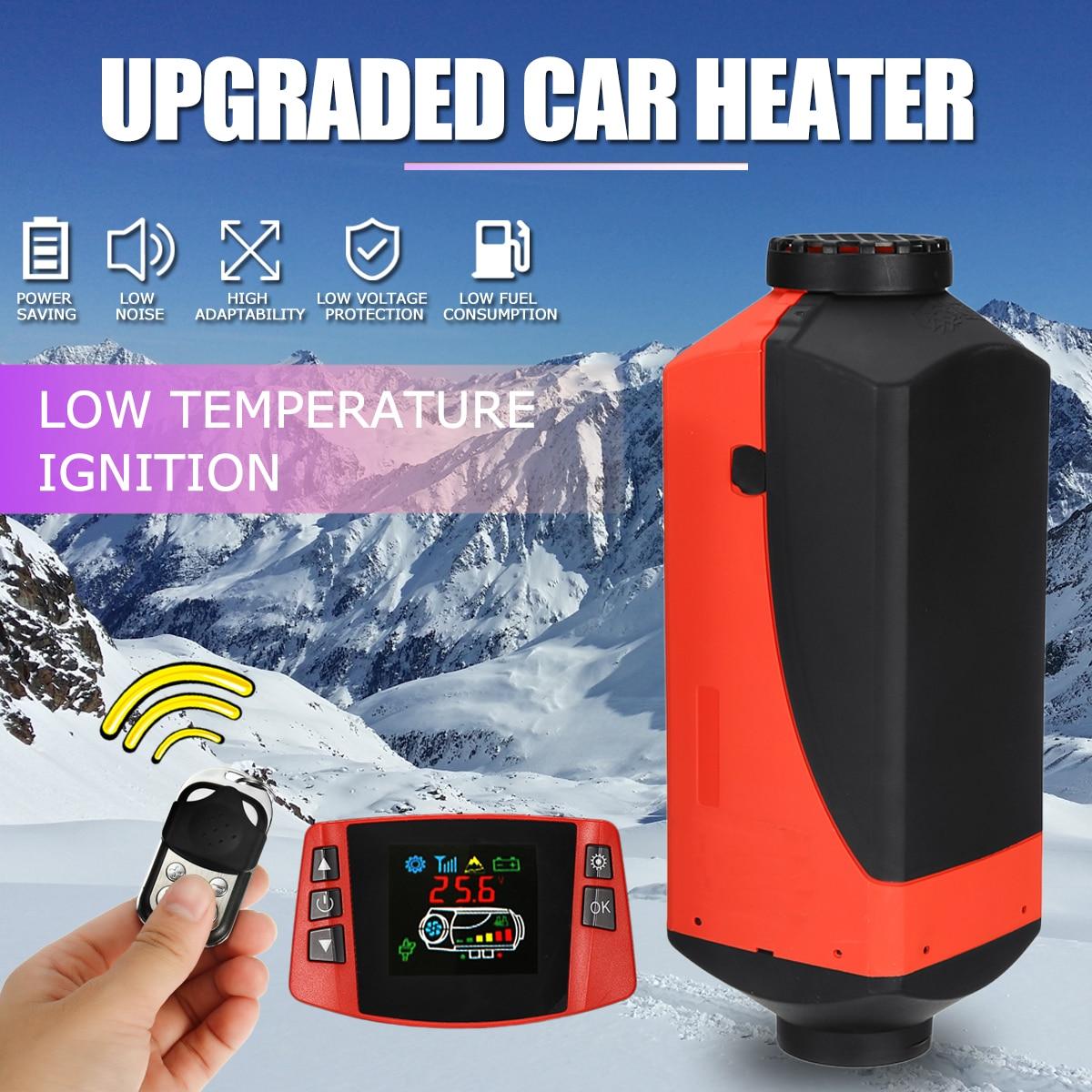 Calentador de aire diésel para coche de 12V y 8kW, calentador de coche con pantalla LCD y Control remoto, interruptor + silenciador para camiones, autobús, remolque y calentador