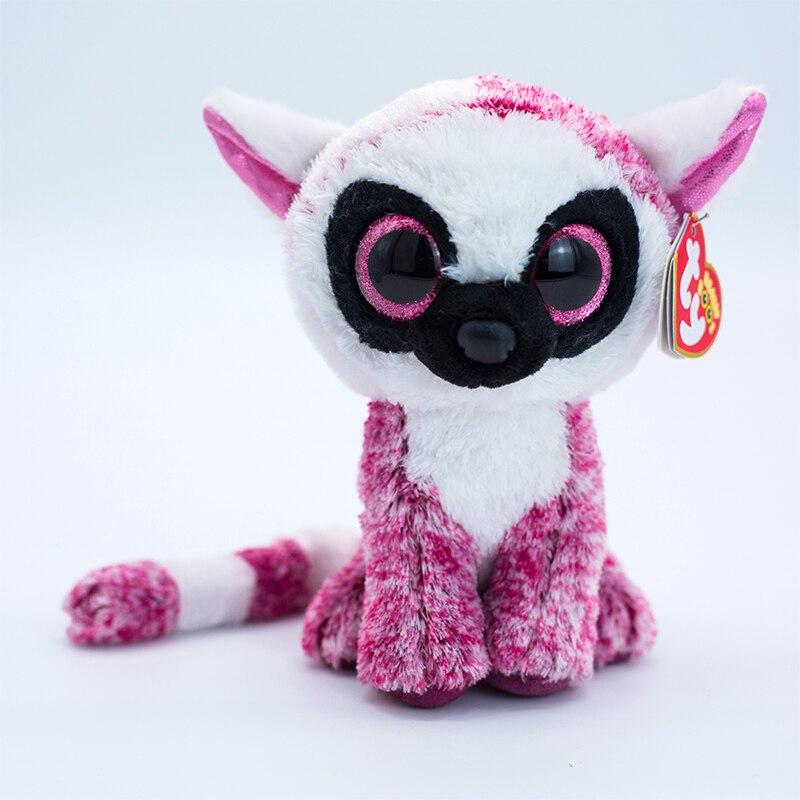 Ty Beanie Boos мягкие игрушки с большими глазами розовый фиолетовый Лемур плюшевые игрушки куклы украшения мягкие прикроватные игрушки кукла под...