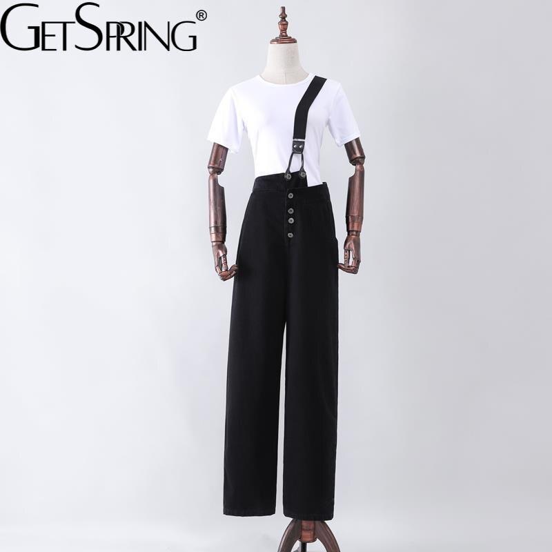 GetSpring النساء الجينز الخريف عالية الخصر مستقيم فضفاض وزرة كبيرة الحجم فضفاضة غير رسمية طويلة السيدات الدنيم السراويل موضة 2021 جديد
