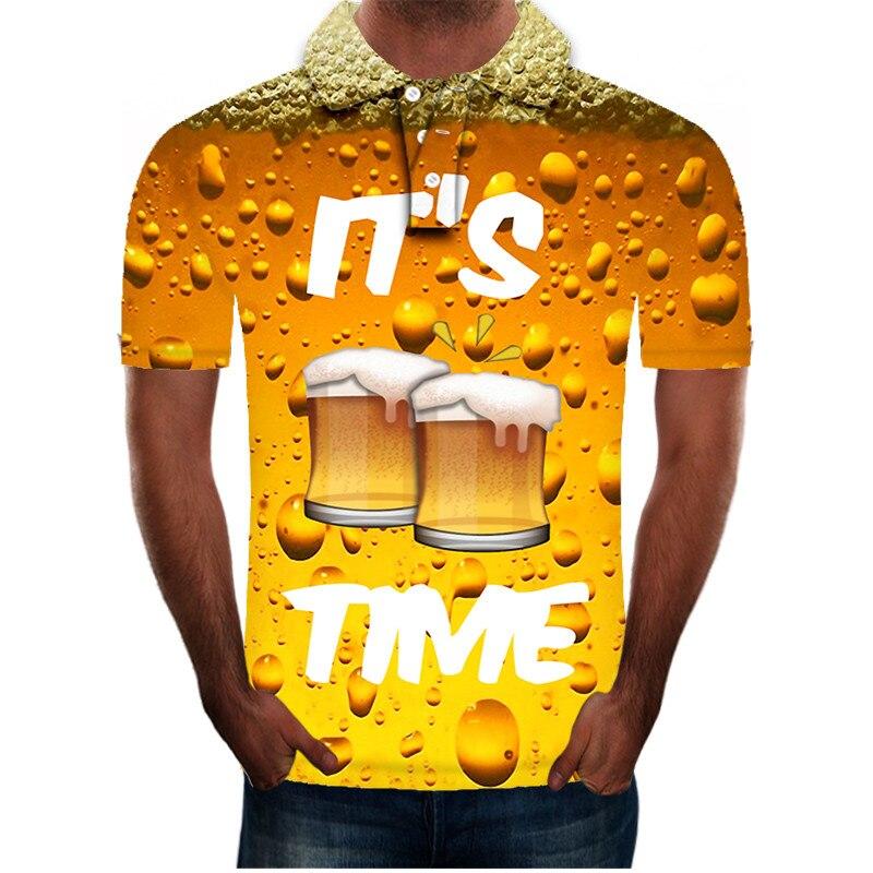 ¡Novedad de moda 2020! polo de manga corta con estampado 3D de cerveza para hombre, Polo informal ajustado de verano, ropa para hombre, Polo