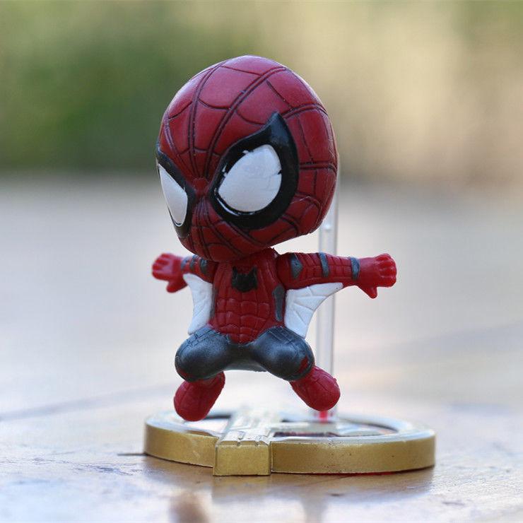 Disney Marvel Q Version Avengers 4 Peripheral Spider Iron Man Captain America Model Decoration Hand Doll Toy