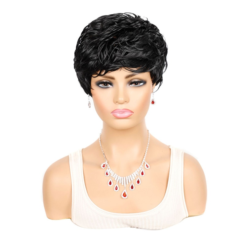 Women Short Omber Black Wavy Synthetic Wig Heat Resistant Fiber Wig With Bang For Women Daliy Party Use Looking Nature