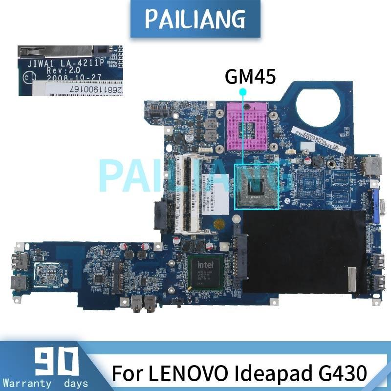 PAILIANG اللوحة الأم لأجهزة الكمبيوتر المحمول لينوفو Ideapad G430 اللوحة الرئيسية LA-4211P GM45 DDR2 tesed