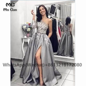 Elegant One Shoulder Grey Prom Dresses 2021 3/4 Sleeves Bodice Front Slit Special Occasion Dress Formal Evening Party Gowns