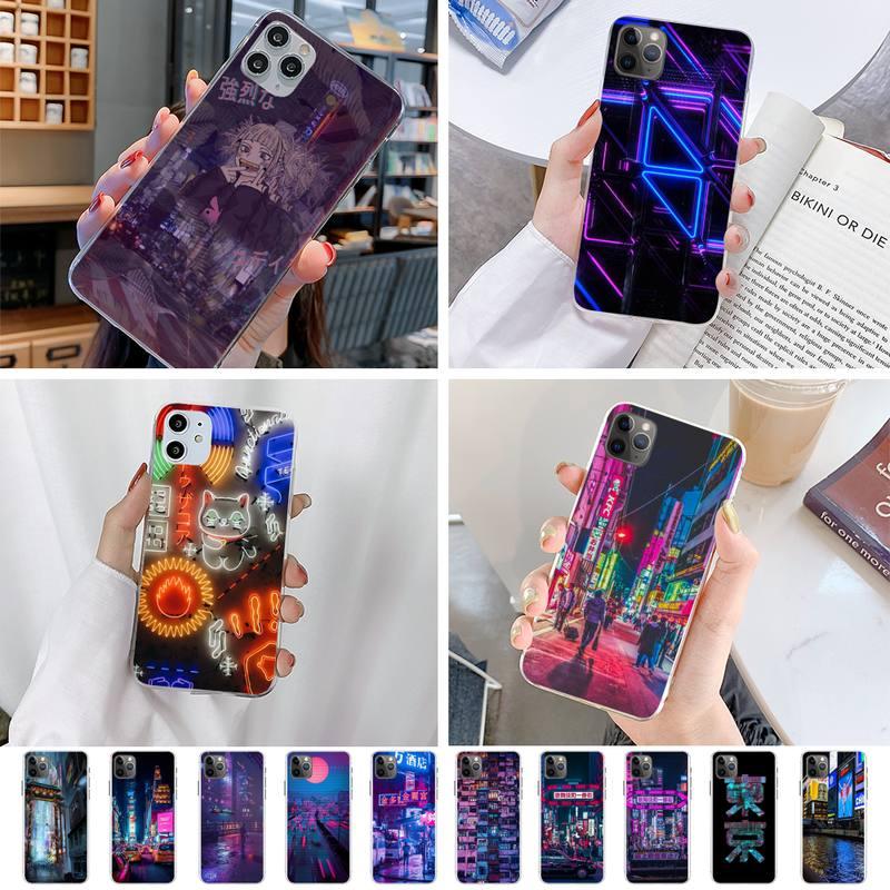 Luzes de néon Movimentado Mercado Noite Luxury Phone Case Para Iphone 5 6 7 8 11 plus XR X XS MAX 11PRO SE2020 iPhone Caixa Transparente