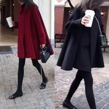 Lange Winter Cape-Mantel Frauen Wolle Koreanische Frühling Solide Mode Herbst Poncho Rot Samt Manteau Cape Femme Hiver Frauen Mäntel DF50CP