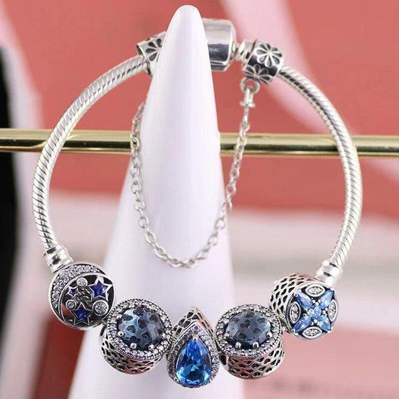 الأصلي 925 فضة كلاسيكي الأزرق قطرة الماء الخرز مع الكلاسيكية زر سوار للنساء مجوهرات الزفاف هدية عيد