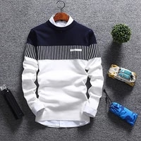 fashion stitching mens vertical lines sweaters male knitwear sweater warm patchwork round collar clothing casual wool pullovers