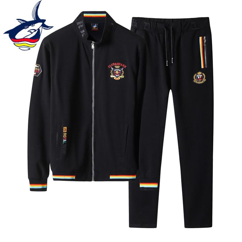 Спортивный костюм Tace & Shark мужской, 95% хлопок + 5% спандекс, худи на молнии, спортивные штаны, свитшот для мужа, спортивная одежда