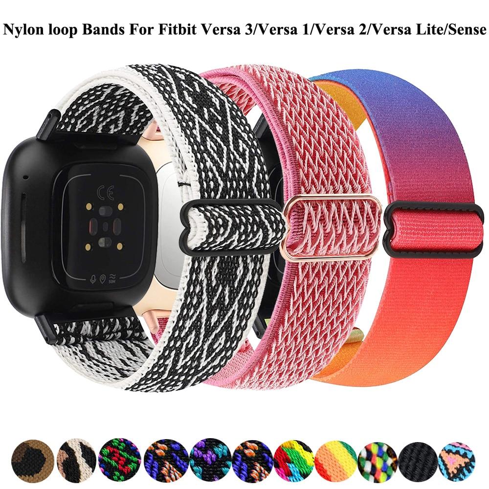 Elastic Loop Bands For Fitbit Versa 3/Versa 2/Versa Lite/Fitbit Sense Strap Adjustable Nylon Sport Wristband Smartwatch Correa