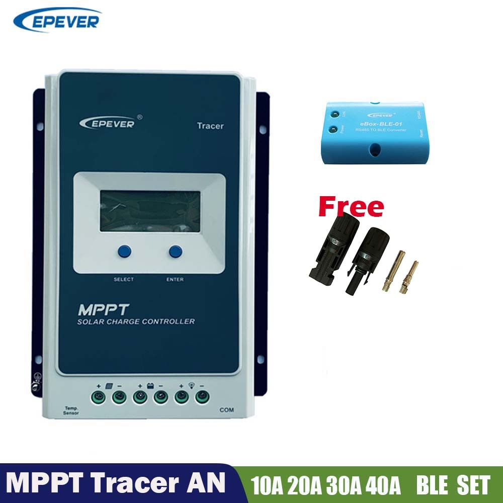 New EPever MPPT Solar Charger Controller Tracer 10A 20A 30A 40A 12V24V Panel Battery Regulator LCD Lithium & eBox-BLE Adapt