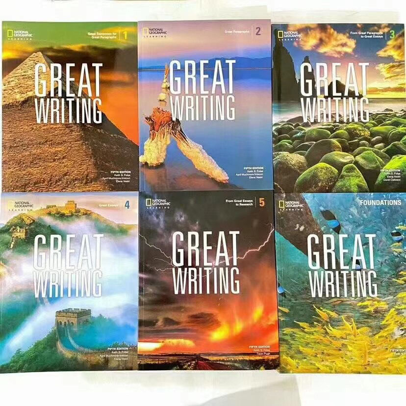 6PCS/Set Great Writing Elementary Middle and High School National Geographic Writing Textbook Fifth Edition English Picture Book
