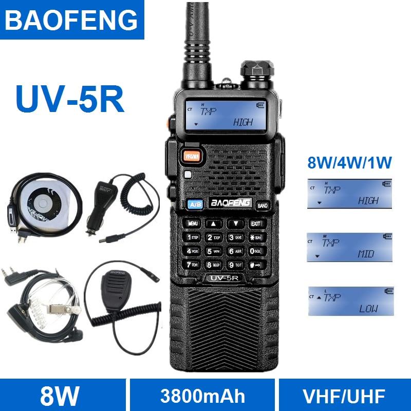 Baofeng UV-5R 8W Walkie Talkie 10KM UHF VHF 3800mAh przenośne CB-Radio Comunicador Transceiver HF obsługuje USB ładowania Baofeng 10W