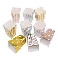 612pcs rose gold silver popcorn box candy snacks wave stripe dot gift box wedding birthday party decoration tableware supplies