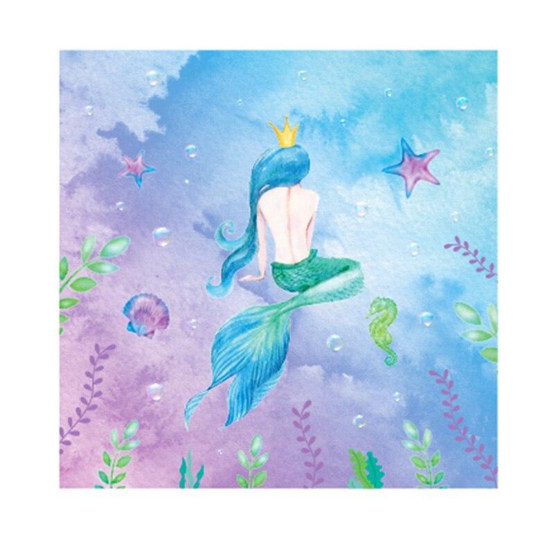 20 unids/lote nuevo estilo encantador sirena fiesta princesa servilletas sirena reina corona fiesta servilletas toallas para suministros de fiesta de cumpleaños