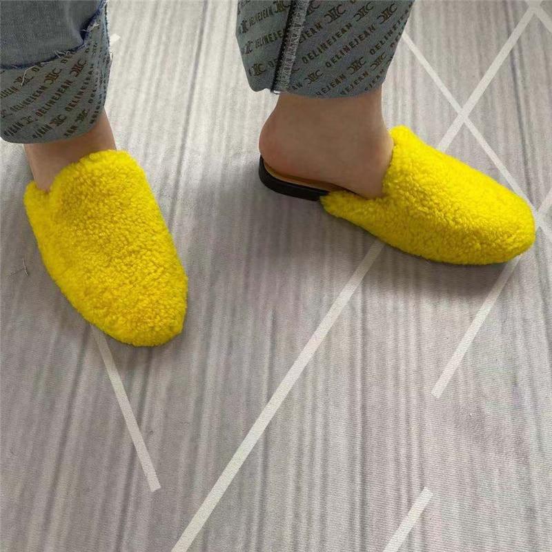 شبشب نسائي من الصوف الأصلي ، حذاء خارجي بنعل سميك ، لفصلي الربيع والخريف ، 2020