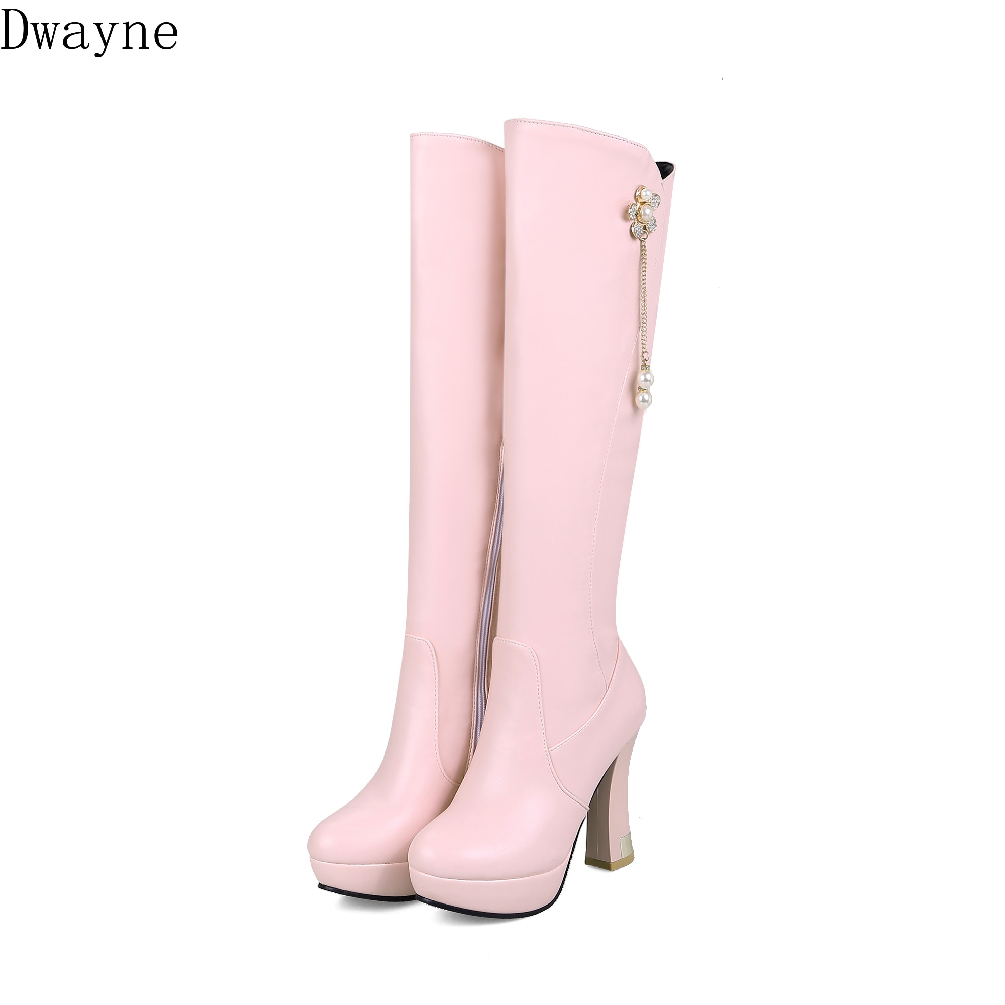 Cremallera lateral, Invierno 2020, borla de Perla Nueva, tacón alto, botas Martin de tubo largo para mujer
