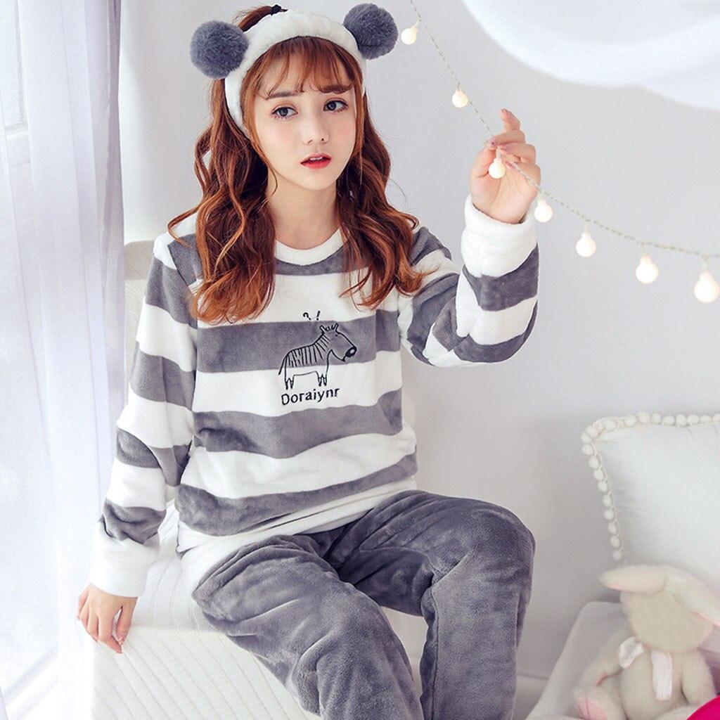 Pijama de mujer, Camisa de franela de manga larga, pantalón, pijama, ropa de dormir, juegos de camisón, ropa de pijama para mujer