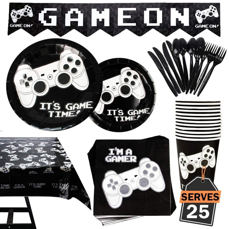 Gamepad conjunto de tablewares descartáveis jogo vídeo controlador guardanapo placa copo de papel toalha de mesa aniversário do miúdo chá de bebê dec suprimentos