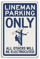 smartcows lineman parking electrocuted blue novelty vintage tin metal sign 8x12 wall decor