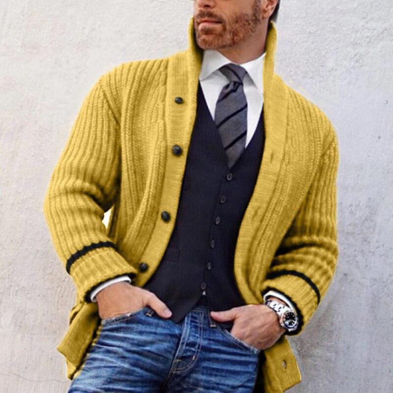 جديد شتاء دافئ الرجال سميكة سترة الرجال سليم صالح البلوزات زر على الموضة معطف فوقي كم طويل تريكو المعتاد سترة سترة