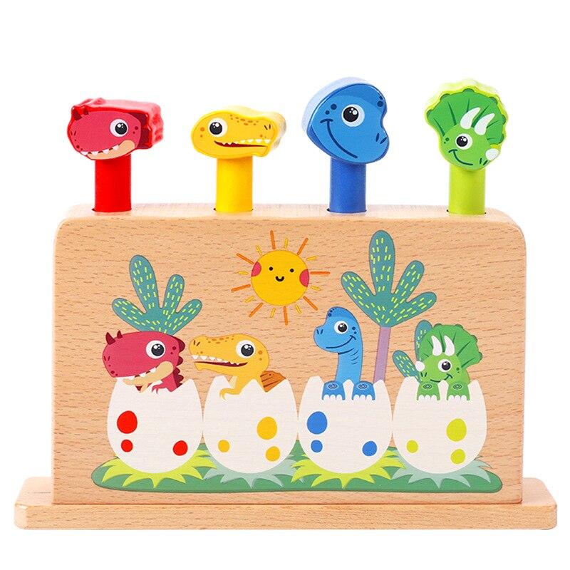 montessori cedo brinquedos educativos dinossauro jumping primavera de madeira brinquedos