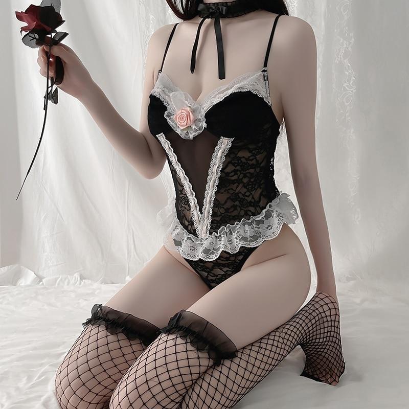 Сексуальный Кружевной Костюм для косплея, Женское боди, белый и черный комбинезон со скрытыми пуговицами, французская Пижама на бретелях дл...