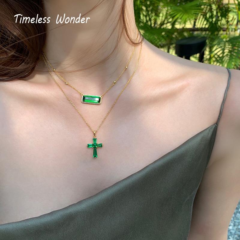 Collar de piedras de cristal de maravilla eterna Geo Cross joyería de mujer diseño Punk Top de moda Boho Ins regalo gótico Kpop Fancy New 5472