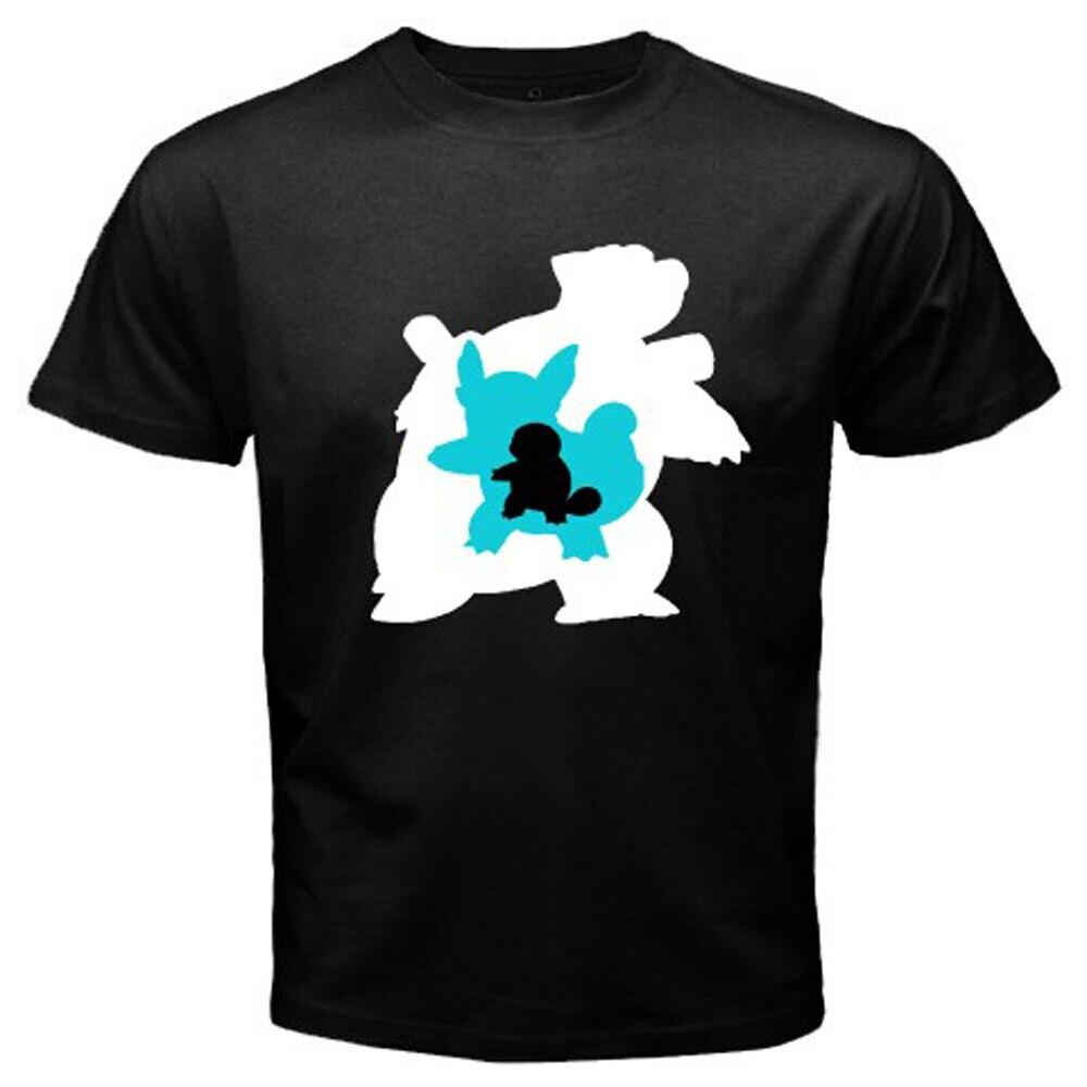 Nuevo Pok mon EVOLUTION squartle Wartortle Blastoise hombres negro camiseta tamaño S-3XL