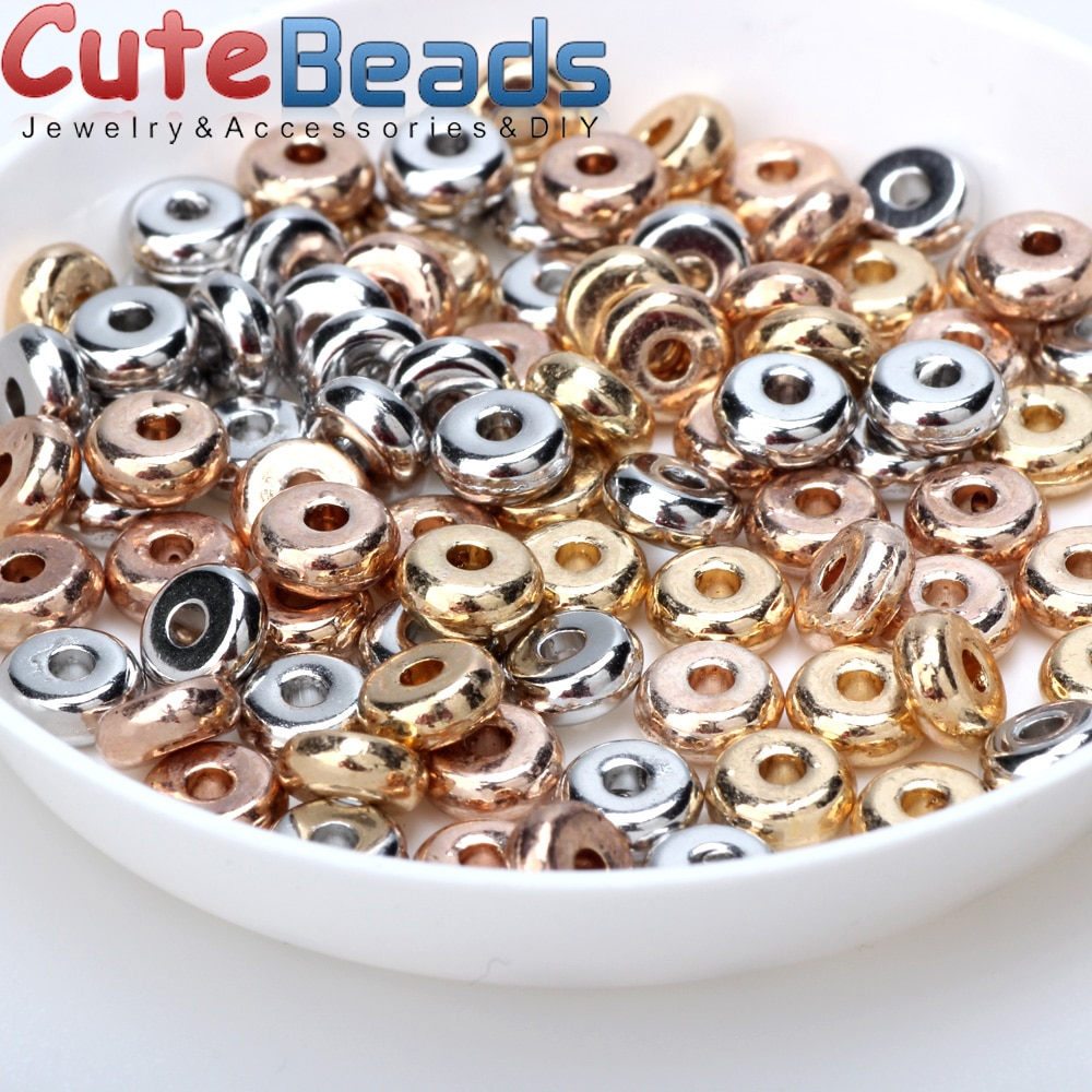 4/6mm 100pcs/lot Metal Brass Round Flat Loose Spacer Beads Fit  DIY Jewelry Making