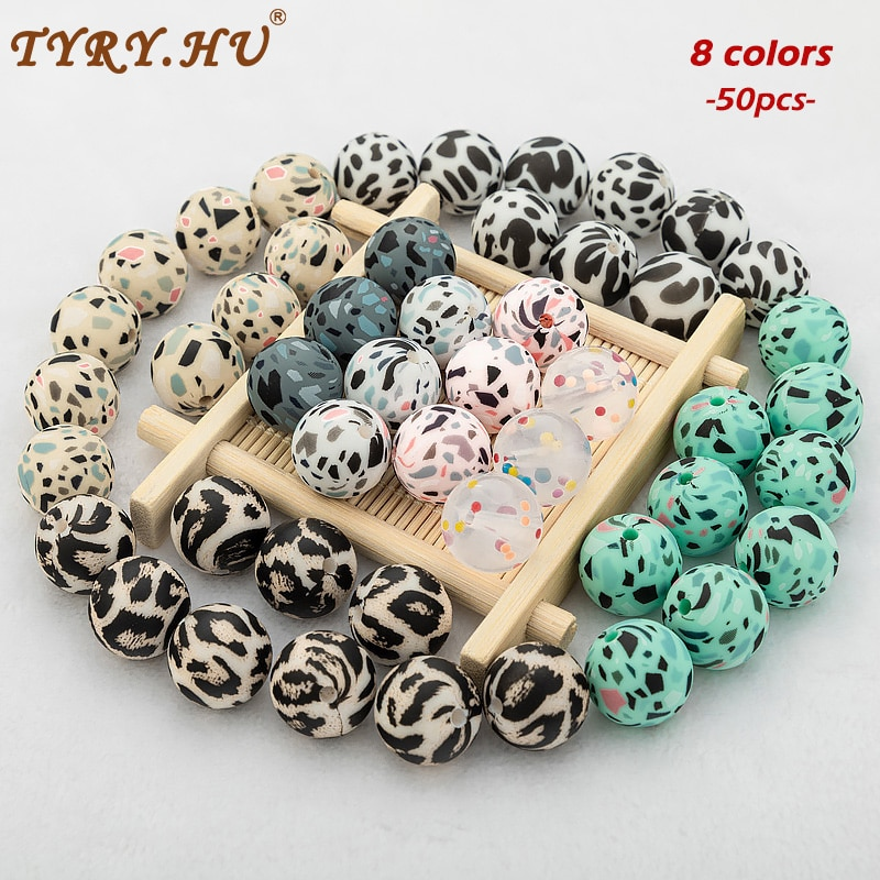 50Pcs Silicone Beads Leopard Print 12/15mm Baby Teether Teething Beads Terrazzo DIY Jewelry BPA Free