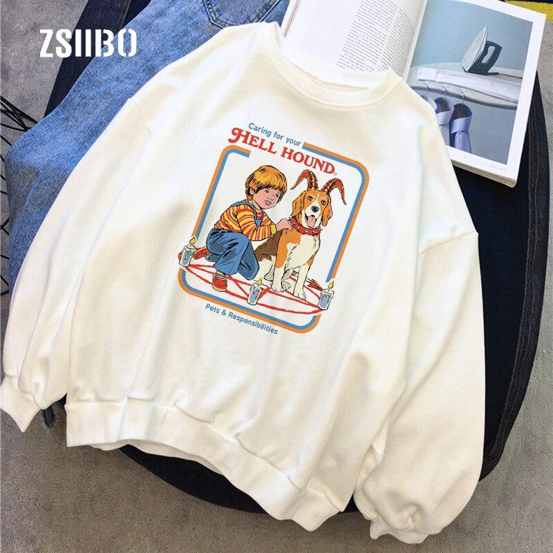 Sudadera informal de moda divertida con estampado de letras de your hell hound, Harajuku Vintage Ulzzang Devil Dark Couple de S-2XL