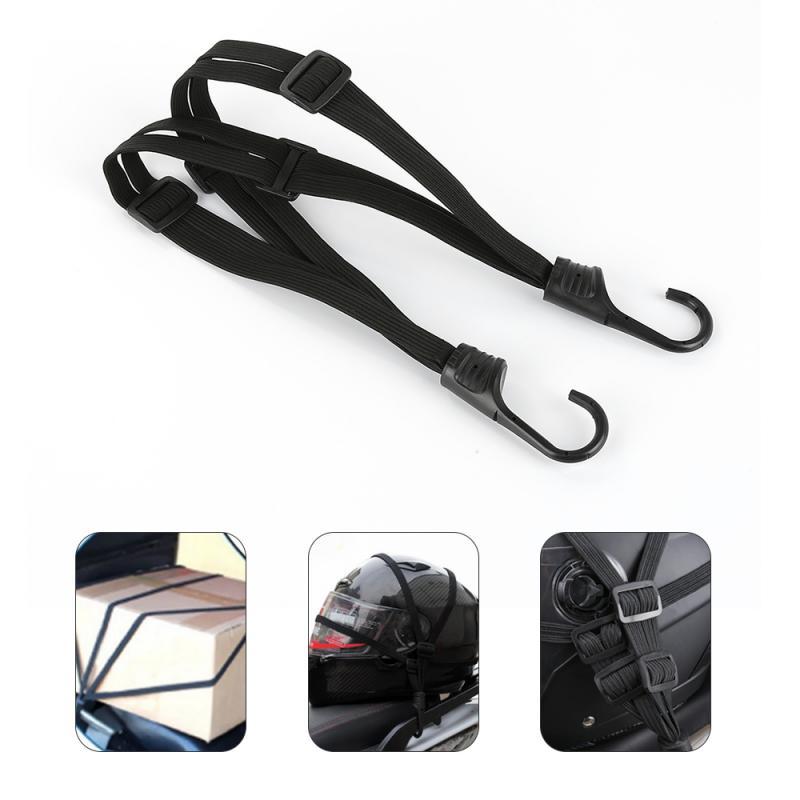 Casco retráctil de fuerza para motocicletas, 2 ganchos, correa de cuerda elástica, soporte de red, hebilla eléctrica negra