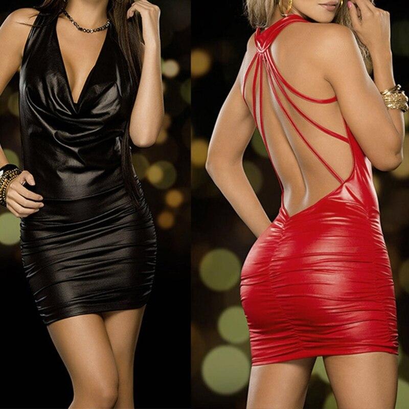 Vestidos exóticos femininos de tiras, sensual, aparência molhada, costas nuas, decote em v profundo, traje de halter, couro látex, festa, clube noturno, vestido de dança