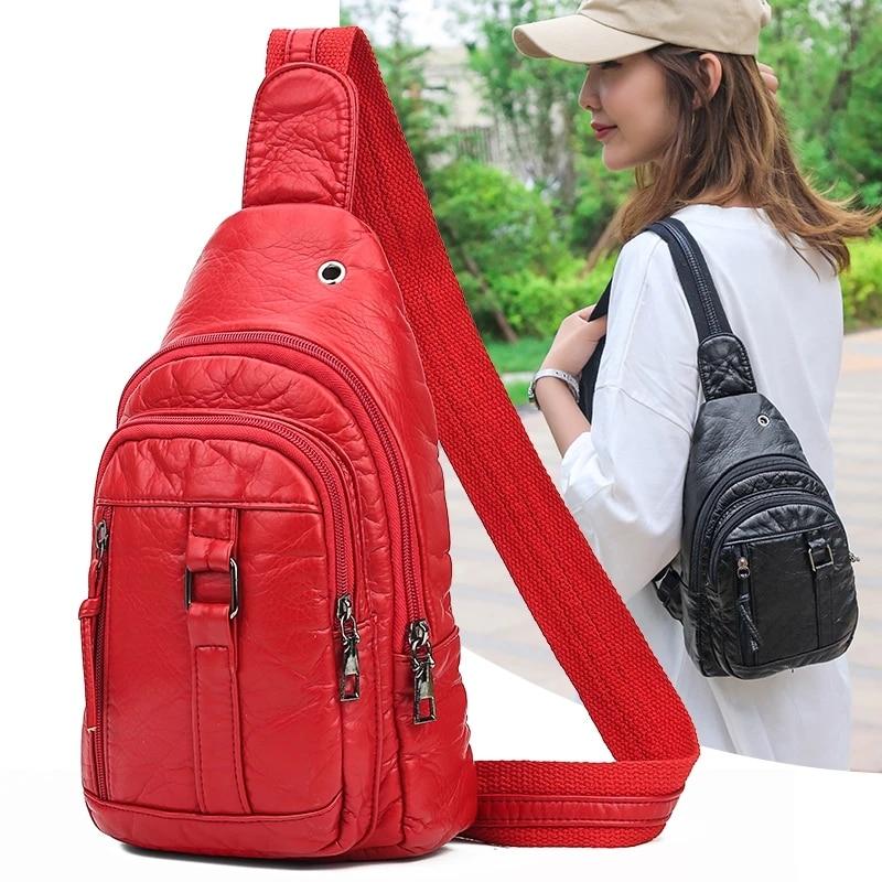 BolsosSac Casual Women's Chest Bags Luxury Pu Leather Soft Shoulder Bag Ladies Fashion Out Small Handbag Messenger Bag 2021 New