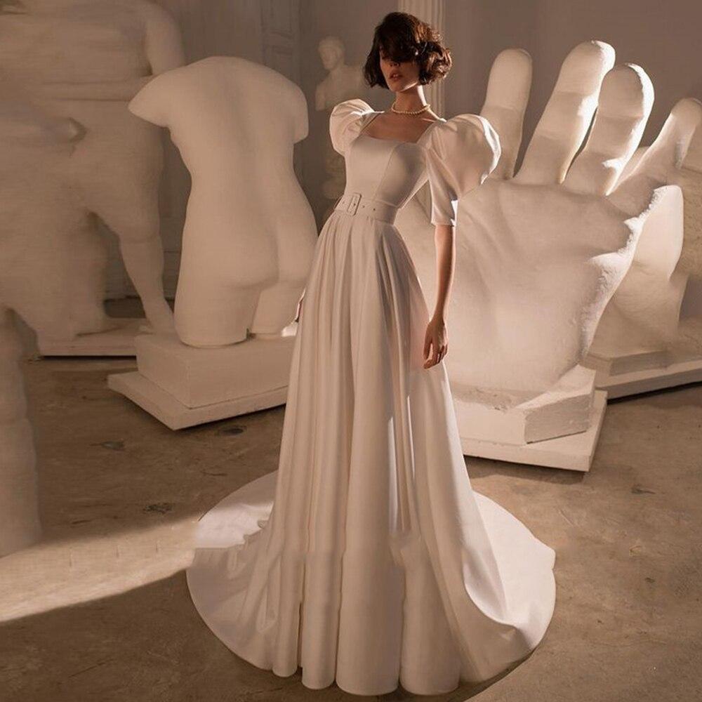 Review Elegant A-Line Square Collar Wedding Dress Satin Short Puff Sleeves Zipper Sweep Train Bridal Gowns 2021 Vestido De Noiva