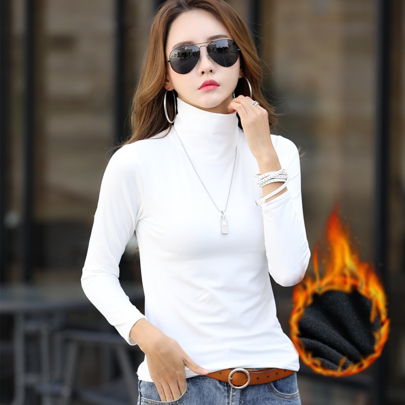 Long Sleeve Turtleneck Sweater Women Pullover Sweater Padded Velvet Warm Top Plus Size  New Autumn Sweater Solid Color
