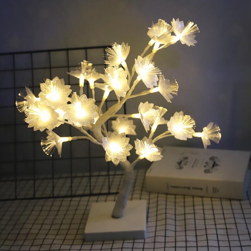 1 قطعة ضوء الليل الألياف البصرية شجرة ورد مصباح المنزل غرفة نوم السرير غرفة المعيشة عيد الميلاد إضاءة ديكورية الغلاف الجوي مصباح