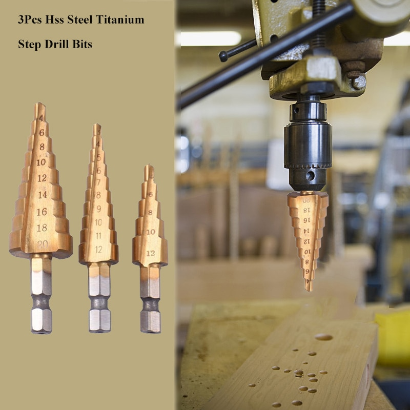 3 pezzi punte da trapano in acciaio HSS titanio 3-12mm 4-12mm 4-20mm, - Punta da trapano - Fotografia 5