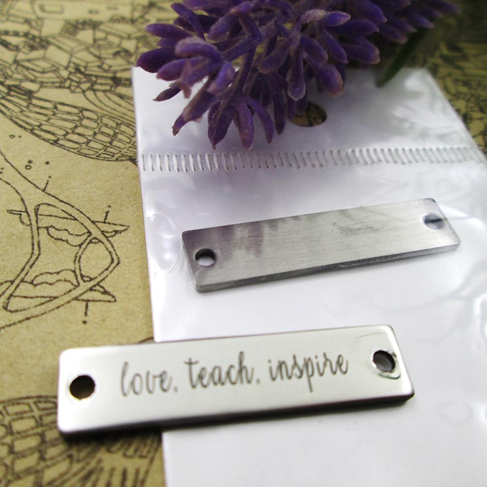 10 Uds.-encantos de acero inoxidable con conector de amor Teach Inspire más estilo para elegir encantos DIY colgante para collar 30x7mm
