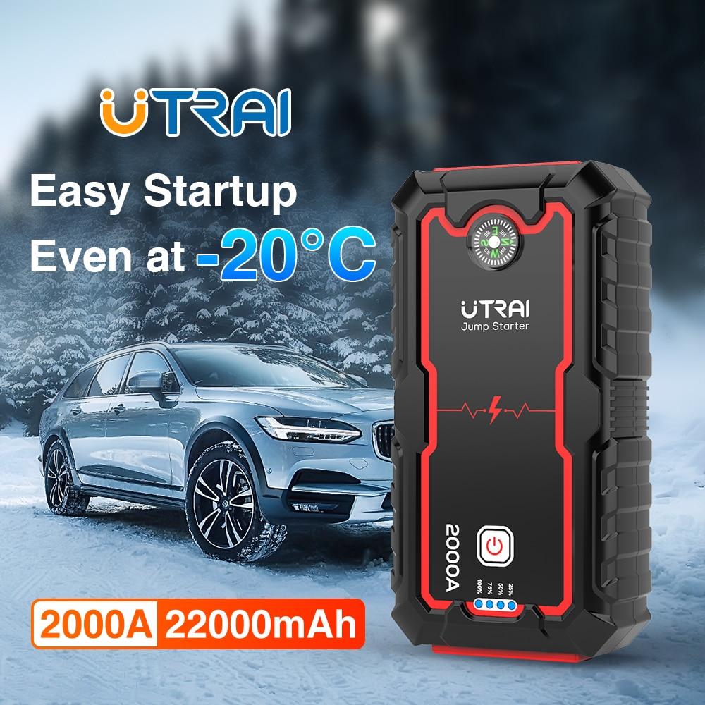 UTRAI Car Jump Starter Power Bank 22000mAh 2000A 12V Starting Device Portable Emergency Car Booster