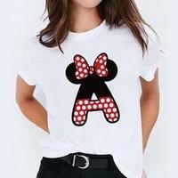 custom name letter combination womens high quality print t shirt disney minnie mouse font a b c d e f g short sleeve tshirt