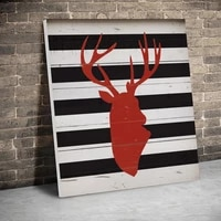 framed striped deer plaid christmas posters canvas paintings wall art canvas prints pictures kids room home wood inner frame