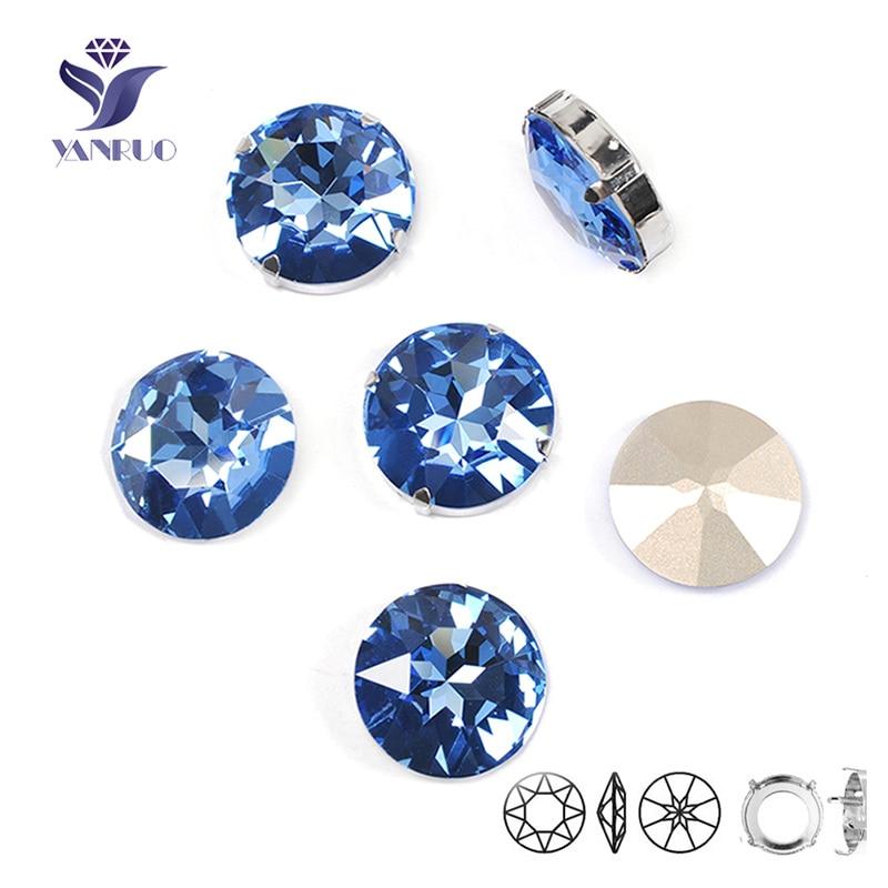YANRUO 1201 Rivoli 27mm Licht Saphir Nähen Auf Strass Mit Krallen Einstellung Applique Kristall Steine Für Diamant Schuhe
