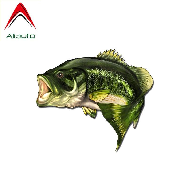 Aliauto criativo carro de pesca adesivos grande boca baixo peixe acessórios capa scratch decalque pvc para vw nissan suzuki, 15cm * 13cm