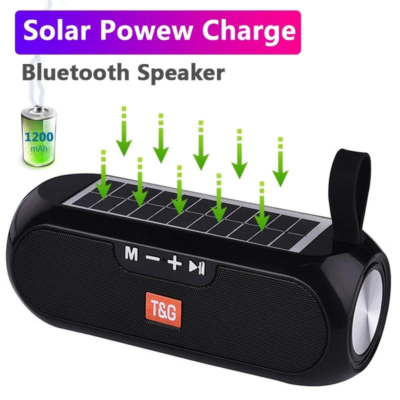 Altavoz estéreo inalámbrico TG182, reproductor de música inalámbrico con carga Solar, Bluetooth,...