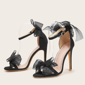 2021 Summer Fashion New Wedding Shoes Stiletto High Heel Sandals Large Size Fish Mouth Lace Bow High Heels
