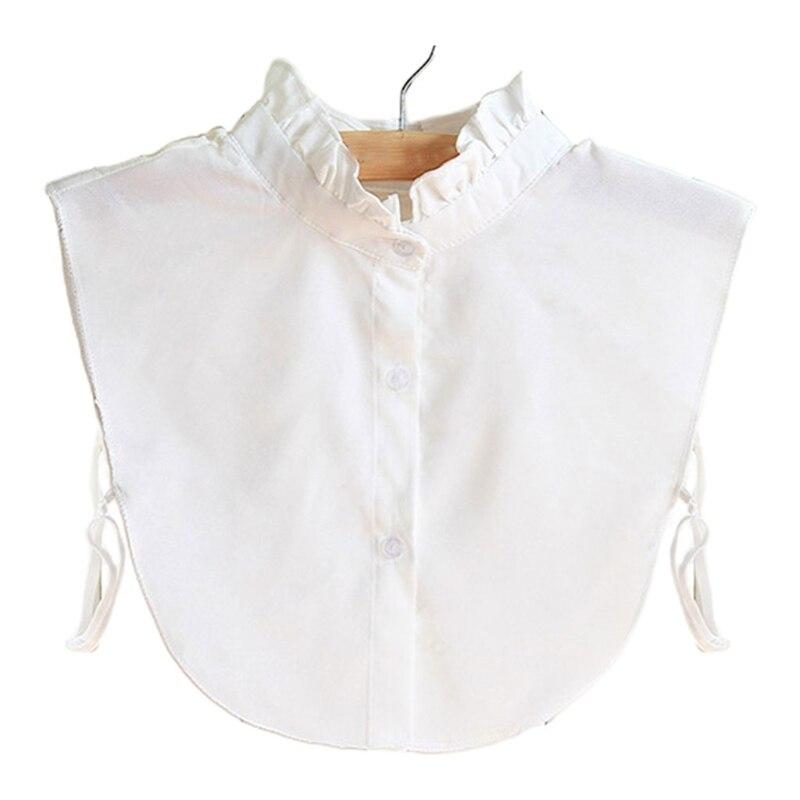 Women Ruffles Chiffon White Fake Collar Curved Hem Detachable Dickey Half Blouse v placket curved dip hem blouse