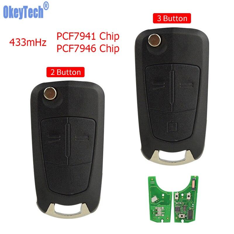 OkeyTech inteligente remoto llave de coche para Opel Astra H 2004-2009 Zafira B 2005-2013 Corsa D Vectra 433mHz PCF7941/7946 Chip