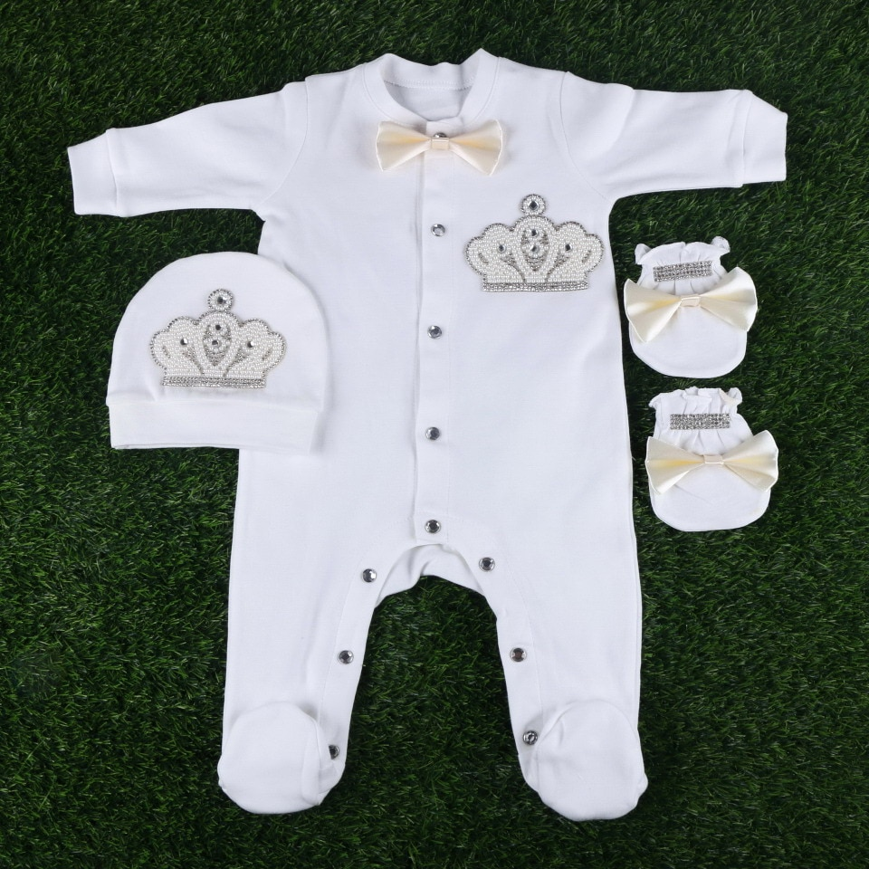 wholesale boutique newborn baby 56CM length jumpsuit clothes handmade luxury crown pattern boy girl infant rompers footies sets